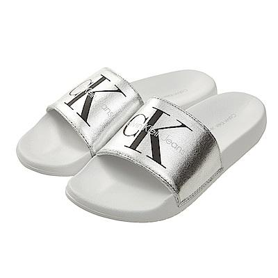 Calvin Klein Jeans LOGO 帆布休閒拖鞋*銀色