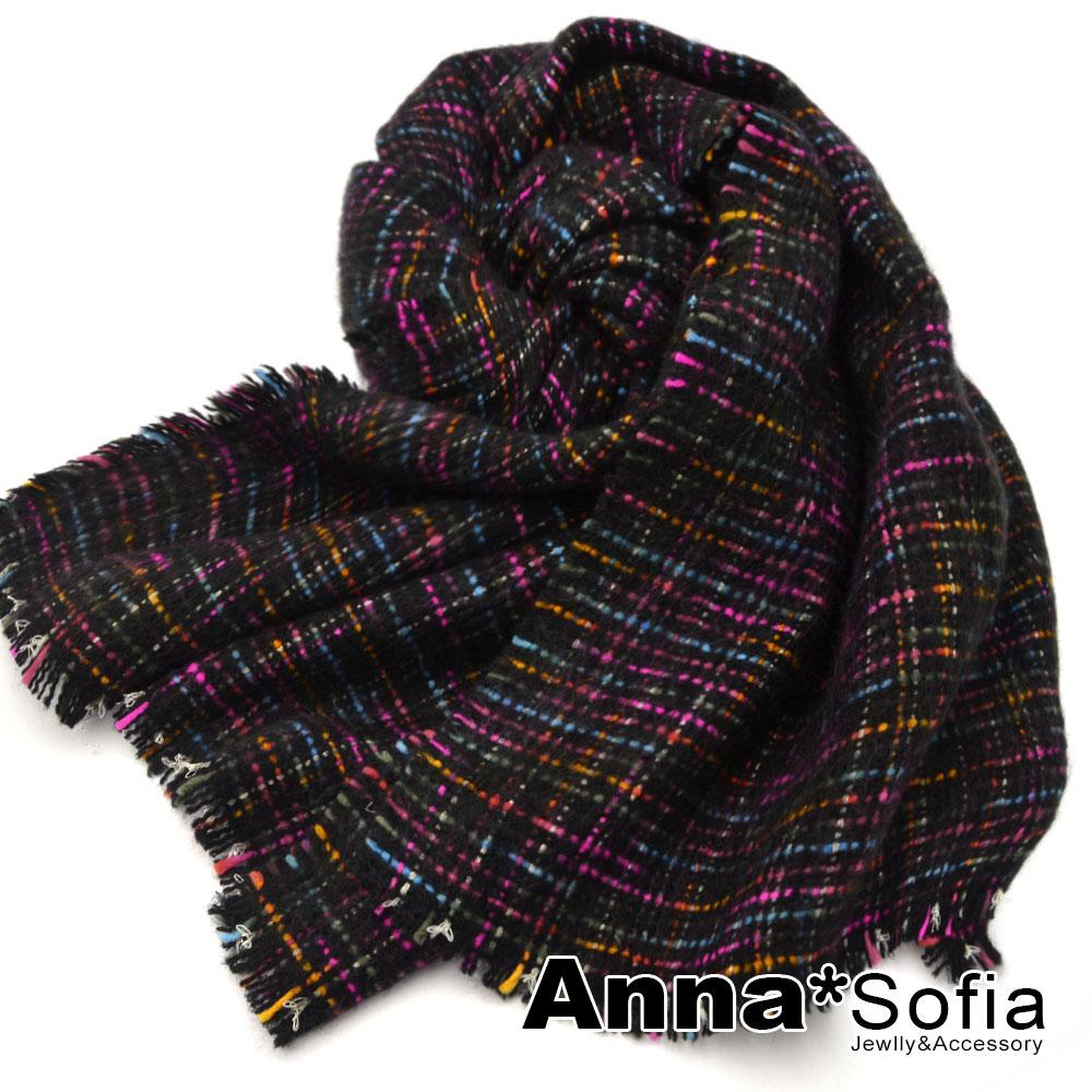 AnnaSofia 混彩線毛邊設計 厚織仿羊絨大披肩圍巾(黑底系) @ Y!購物