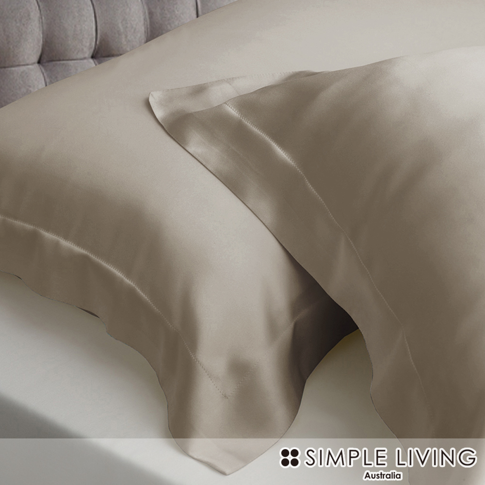 澳洲Simple Living 雙人600織台灣製天絲床包枕套組(尊爵金)