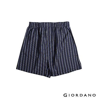 GIORDANO 男裝高品味沈穩條紋配色四角褲-20 條紋海軍藍X藍