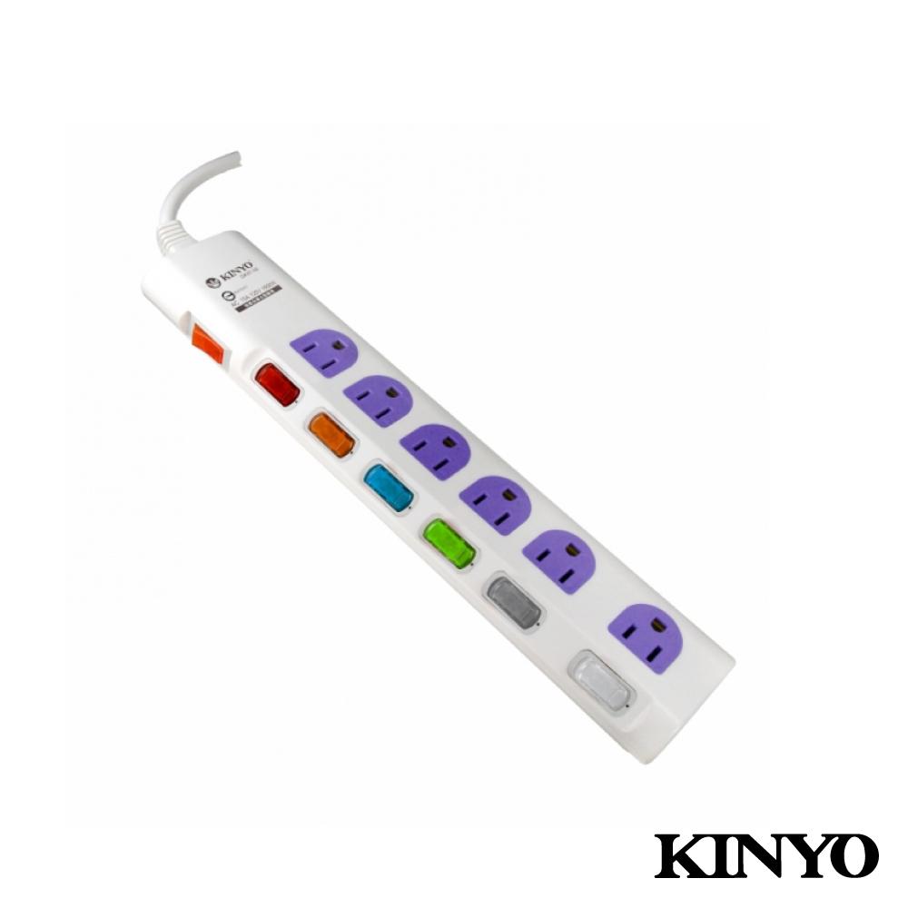 KINYO 七開六插防卡安全延長線1.8M(GK6706)