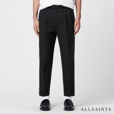 ALLSAINTS FORGE 寬版素色中腰反折長褲-黑