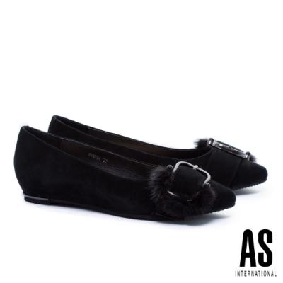 低跟鞋 AS 奢華貂毛釦飾全真皮內增高尖頭低跟鞋-黑