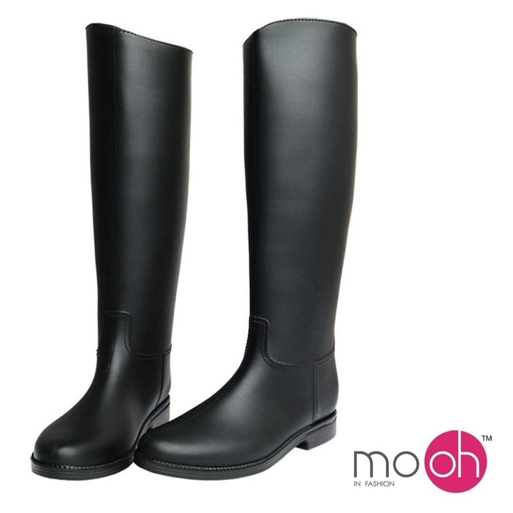 mo.oh 愛雨天-素面斜口顯瘦長筒防水雨鞋-黑色