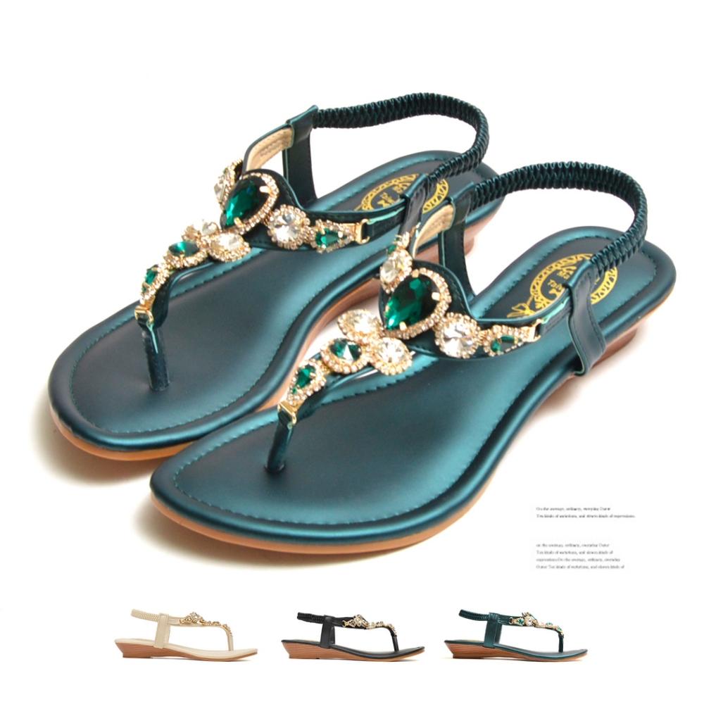 山打努SANDARU-涼鞋 寶石水鑽夾腳平底鞋 (綠)