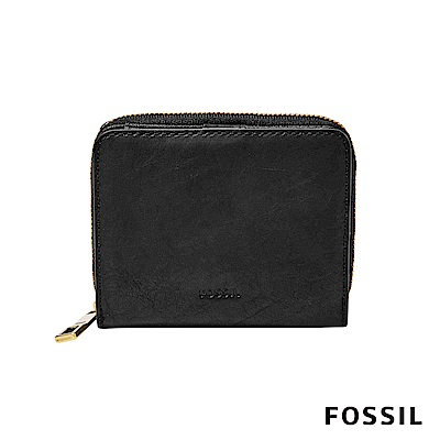 FOSSIL EMMA 對折真皮小夾拉鍊-黑色