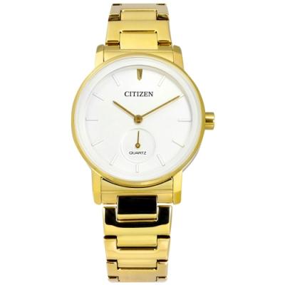 CITIZEN 簡約時尚 不鏽鋼手錶 (EQ9062-58A)-白x鍍金/34mm