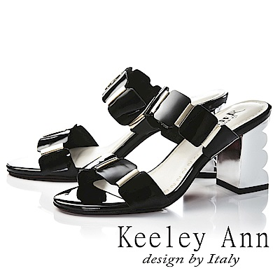 Keeley Ann氣質名媛 一字幾何方形素面高跟拖鞋(黑色-Ann系列)