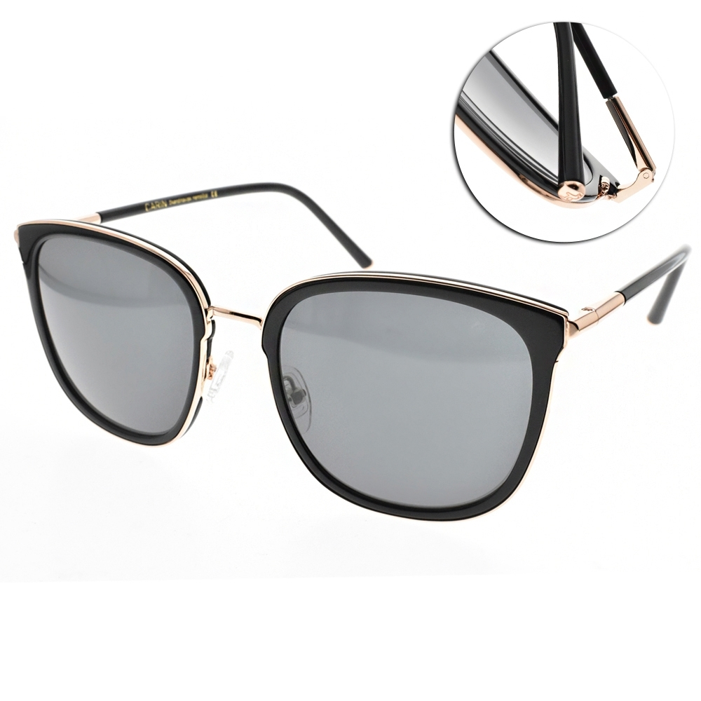 CARIN 太陽眼鏡 時尚潮流貓眼款/黑-金-藍鏡片 #DANIEL C1