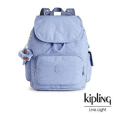 Kipling經典款溫柔粉藍掀蓋後背包