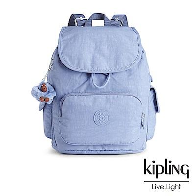 Kipling經典款溫柔粉藍掀蓋後背包-CITY PACK S