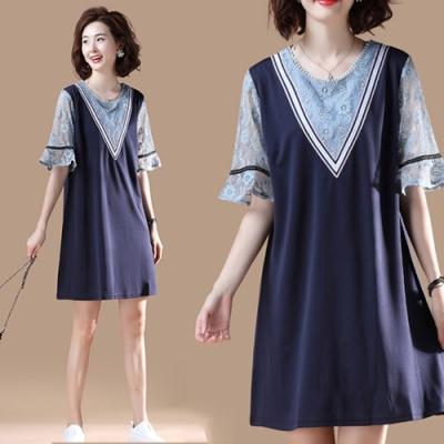 【韓國K.W.】韓國氣質舒適假兩件拼接蕾絲洋裝