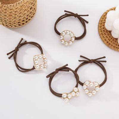 Hera 赫拉 簡約氣質復古幾何造型珍珠髮圈-隨機2入組