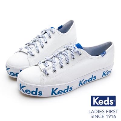 Keds TRIPLE KICK 經典Keds LOGO厚底綁帶帆布鞋-白