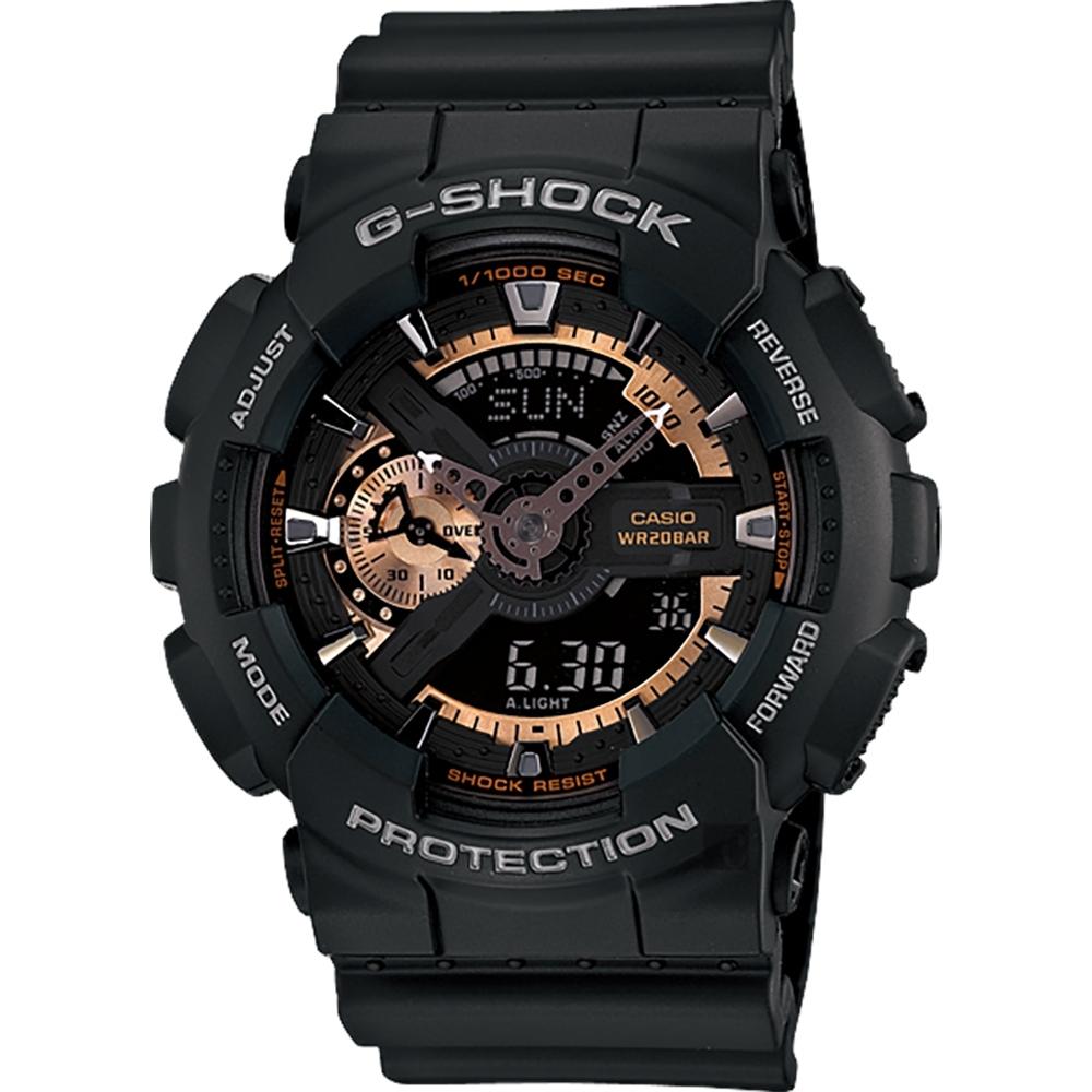 CASIO 卡西歐 G-SHOCK 復古重機雙顯手錶-古銅x黑(GA-110RG-1A)