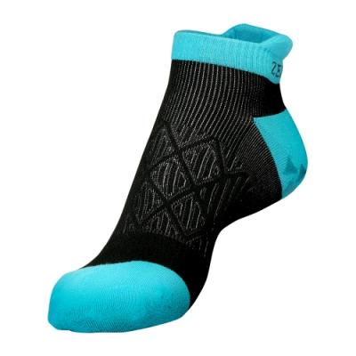 【ZEPRO】男子止滑抗菌慢跑襪-黑/水藍