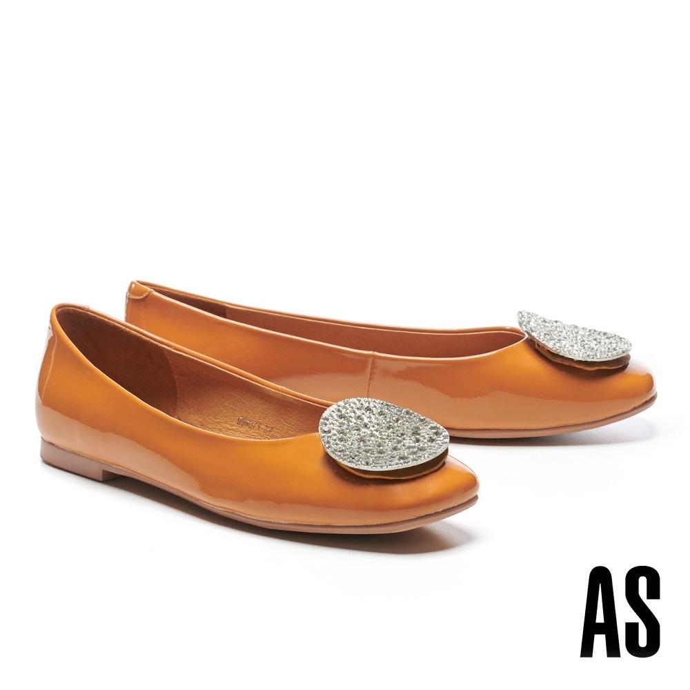 平底鞋 AS 復古時尚晶鑽圓釦全真皮方頭平底鞋-黃