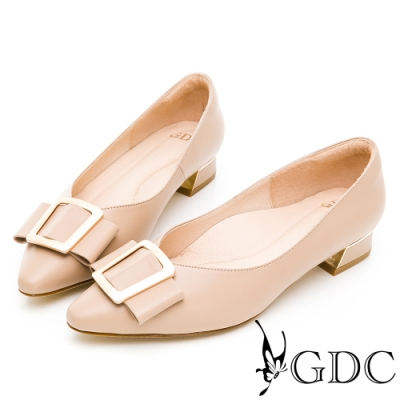 GDC-氣質霧感真皮啞光金扣蝴蝶結尖頭低跟上班素色鞋-奶茶色