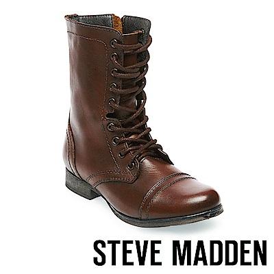 STEVE MADDEN-TROOPA 真皮綁帶中筒靴-咖啡
