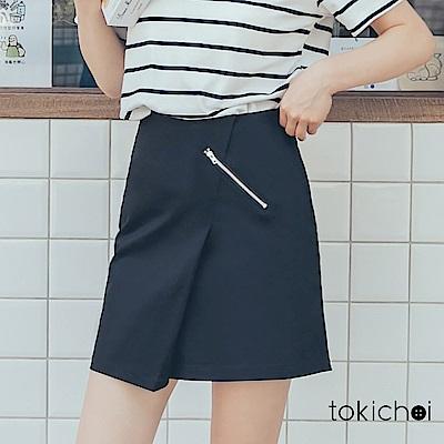 東京著衣 簡約飾拉鍊開衩短裙-S.M(共一色)