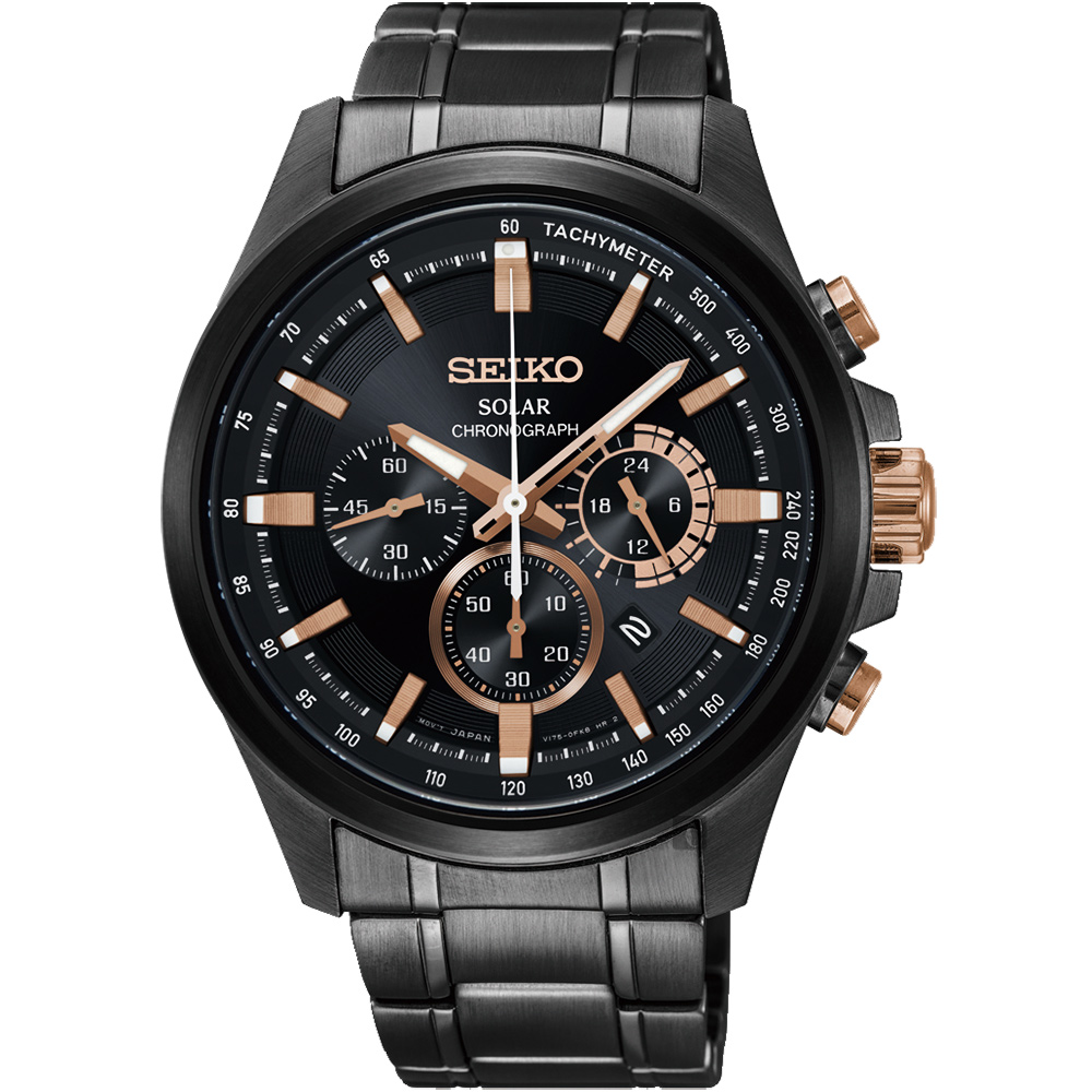 SEIKO精工 Criteria 台灣限定太陽能計時碼錶(SSC695P1)-42mm
