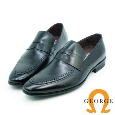 GEORGE 喬治-漸層刷色尖頭核心氣墊紳士皮鞋-黑色