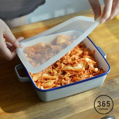 日本365methods 雙耳方形琺瑯烤盤(附蓋)-1.8L (適用冷藏/冷凍)