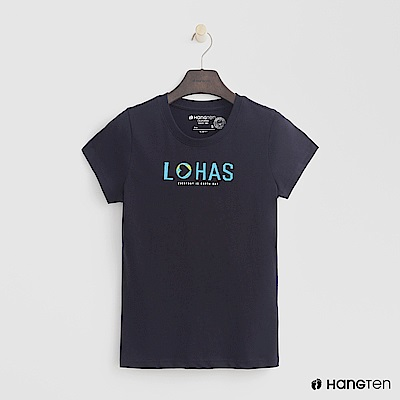 Hang Ten - 女裝 - 有機棉-樂活印字T恤 - 藍