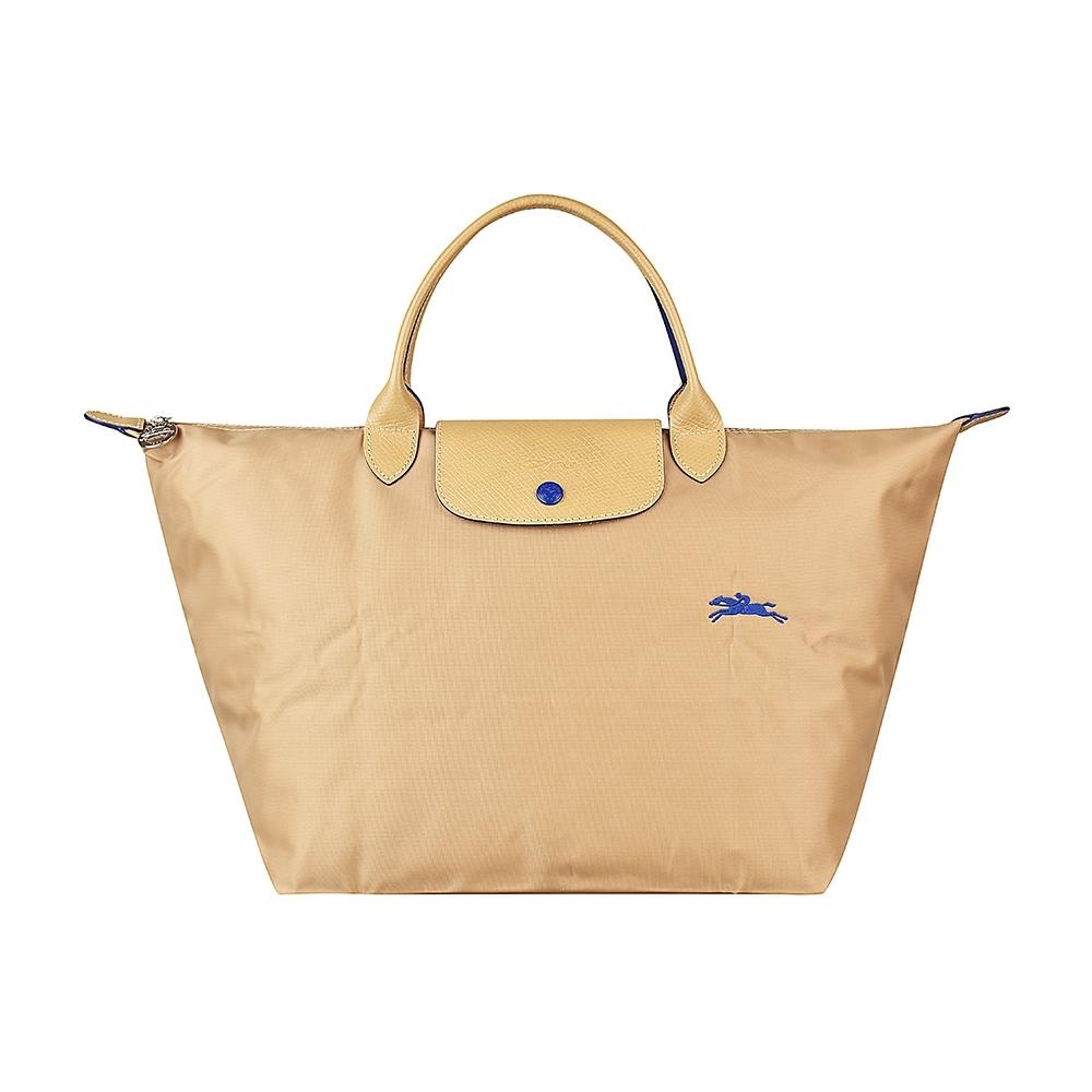 LONGCHAMP COLLECTION刺繡LOGO尼龍摺疊短把拉鍊手提包(中/米x深藍)
