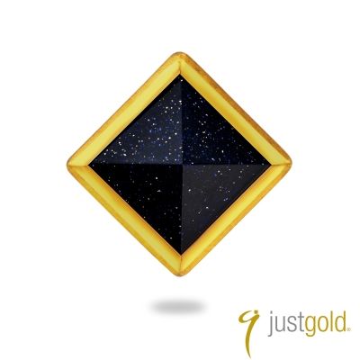 鎮金店Just Gold 黃金單耳耳環 搖滾鉚釘(藍金砂石大)