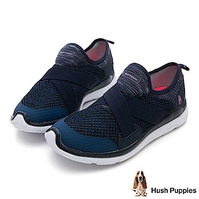 Hush Puppies Spoonbill 免綁帶健走鞋-藍色
