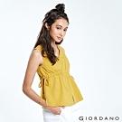GIORDANO 女裝自然棉麻系列無袖收腰綁帶上衣-45 蜜黃