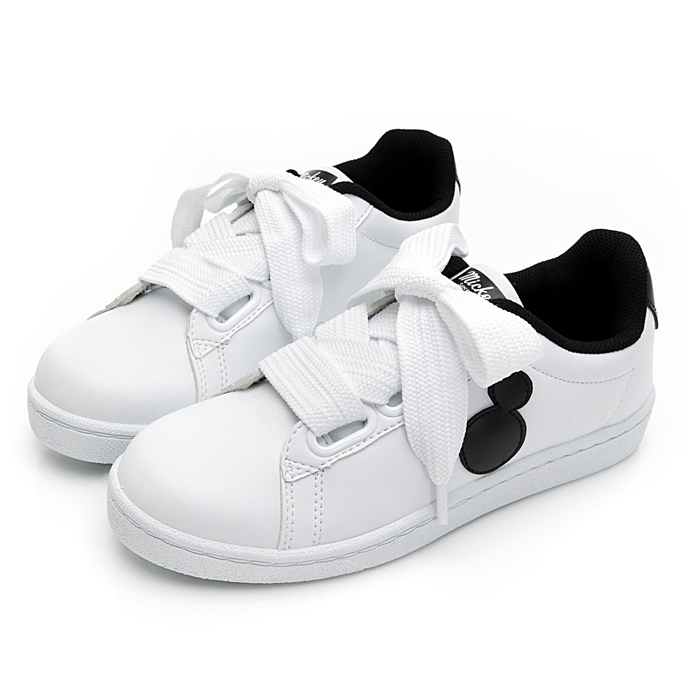 DISNEY米奇寬版綁帶休閒鞋-白黑-DW56351C