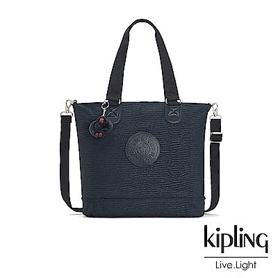 Kipling文青靛藍紋路手提側背包-SHOPPER