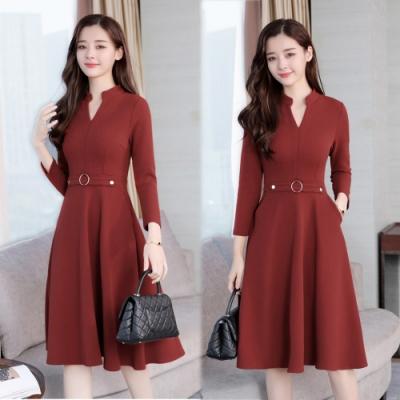 【韓國K.W.】低調奢華氣質淑女修身洋裝-3色