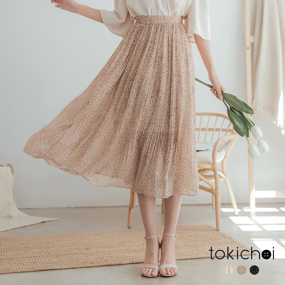 東京著衣-清新甜美滿版點點多色百褶圓裙(共三色)
