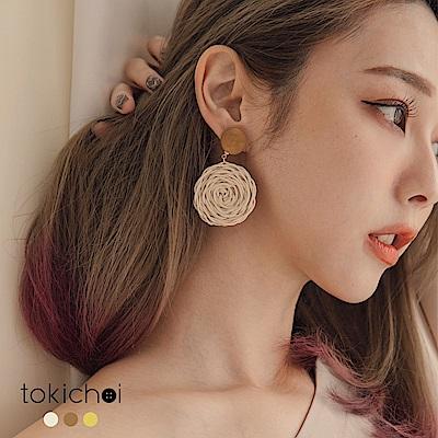 東京著衣 度假風圓形草編耳針式耳環(共三色)