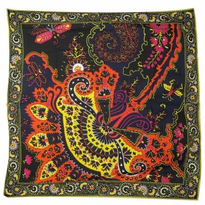 Hermes Paisley 佩斯里喀什米爾羊絨披肩/方巾(黑色)