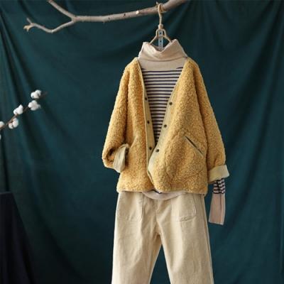 柔和軟糯單色V領羊羔絨外套棉服寬鬆長袖上衣-設計所在