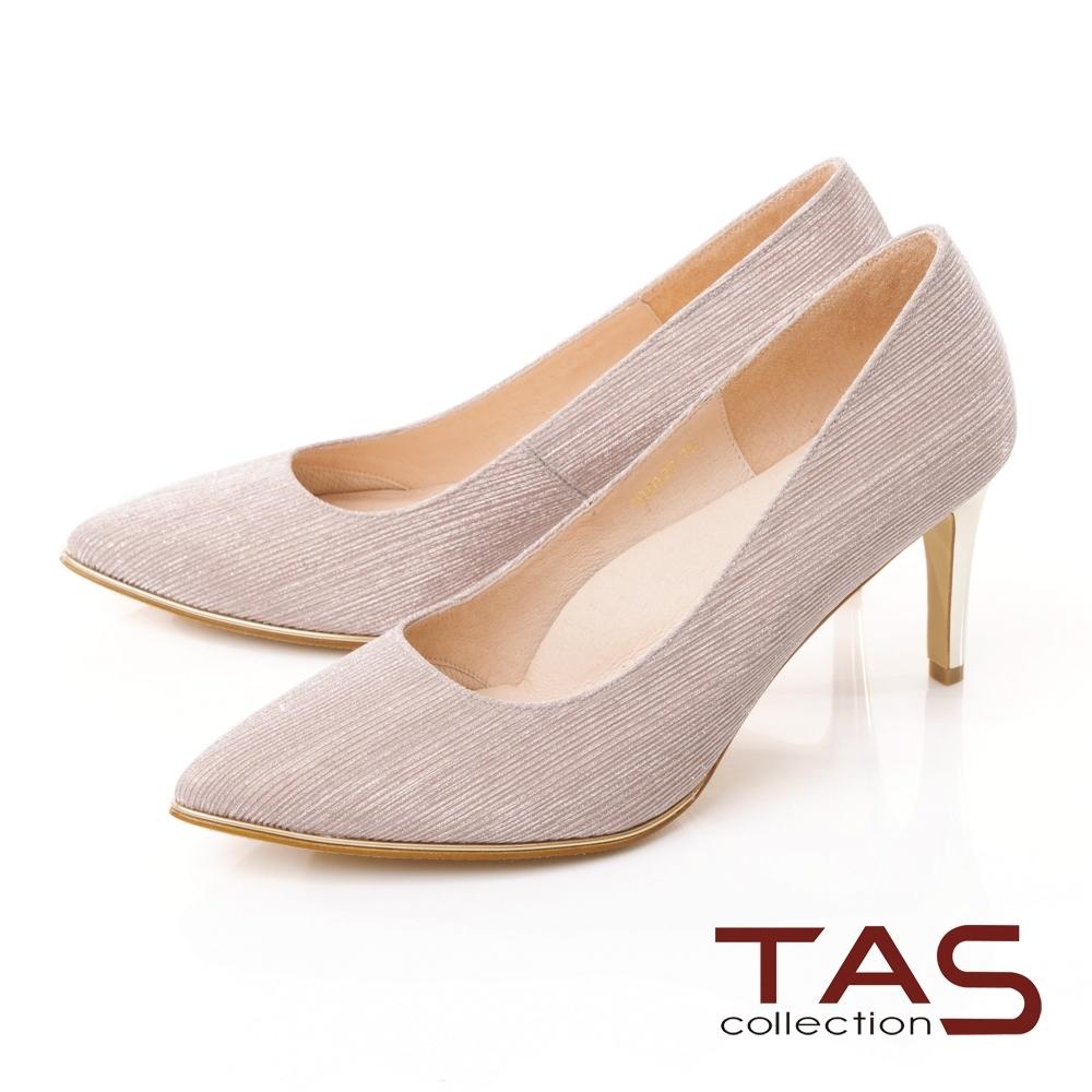TAS閃耀尖頭金屬邊條高跟鞋-玫瑰金