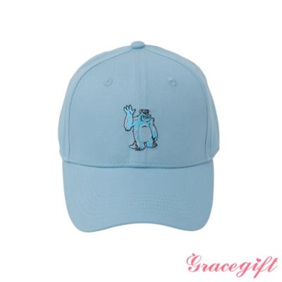 Disney collection by gracegift-怪獸大學毛怪電繡棒球帽 淺藍
