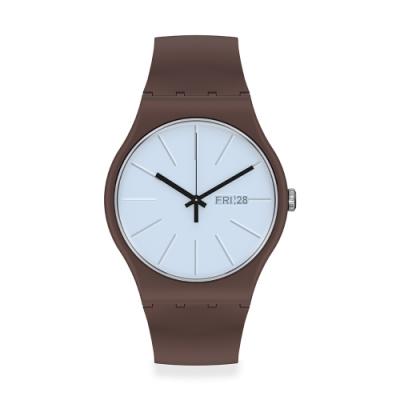 SWATCH New Gent 原創系列手錶LAKI 可可棕(41mm)
