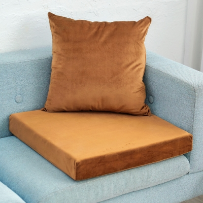 凱蕾絲帝 高支撐記憶聚合加厚絨布坐墊/沙發墊/實木椅墊55x55cm-咖啡(二入)