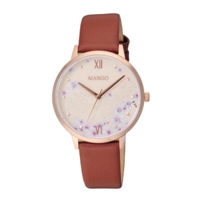 MANGO 星願花語氣質腕錶-咖啡色(MA6757L-95R)36mm