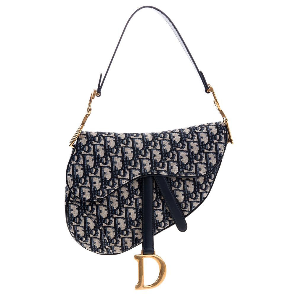 Dior Saddle Dior Oblique緹花帆布馬鞍包 (深藍色/中款)