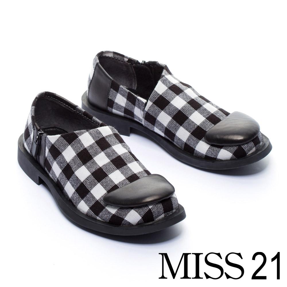 低跟鞋 MISS 21 復古俏皮黑白格紋方頭低跟鞋 -黑白格紋 @ Y!購物