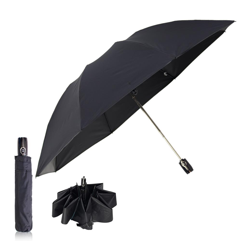 雙龍TDN 反向自動開收黑膠抗UV傘 -紳士黑