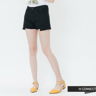 H:CONNECT 韓國品牌 女裝-特色刷破不收邊短褲-黑