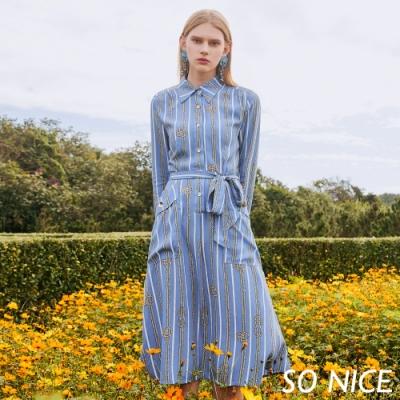 SO NICE時尚鎖鏈印花襯衫式洋裝