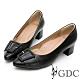 GDC-復古莊園歐風真皮方扣蝴蝶結素色尖頭中跟鞋-黑色 product thumbnail 1